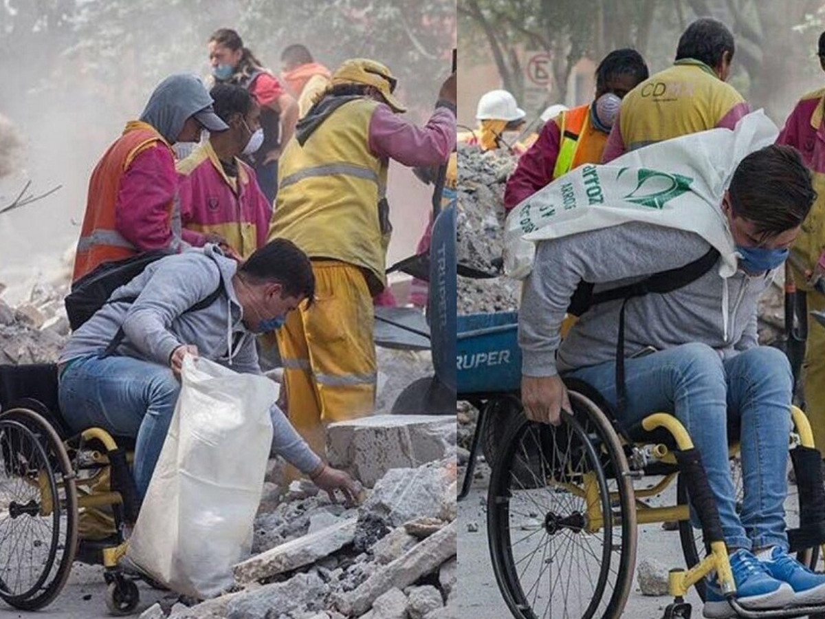 carlos ayudando a voluntarios del sismo en méxico